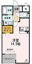 高松琴平電気鉄道長尾線 林道駅 徒歩6分の賃貸マンション 2階ワンルームの間取り