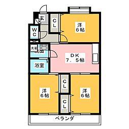 シティーガーデン五軒家[3階]の間取り
