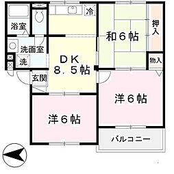 ニューリバーサイド八尾南 B棟[3階]の間取り