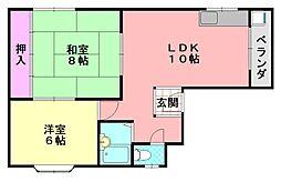 ハイツ田口[4F号室]の間取り