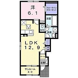 JR久大本線 筑後吉井駅 徒歩23分の賃貸アパート 1階1LDKの間取り