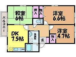 愛媛県松山市畑寺2丁目の賃貸マンションの間取り