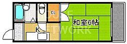 京都府京都市上京区幸神町の賃貸アパートの間取り