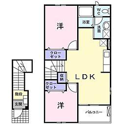 大阪府茨木市五日市2丁目の賃貸アパートの間取り