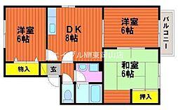 岡山県岡山市中区山崎の賃貸アパートの間取り