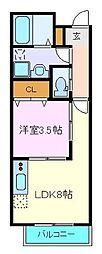仙台市営南北線 長町一丁目駅 徒歩9分の賃貸アパート 1階1LDKの間取り