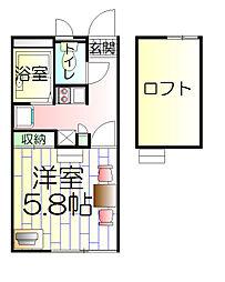 神奈川県横浜市南区弘明寺町字山下の賃貸アパートの間取り