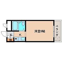 近鉄大阪線 関屋駅 徒歩5分の賃貸マンション 2階ワンルームの間取り