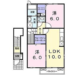 アクティ北鴨IIIB(アパート) 2階2LDKの間取り