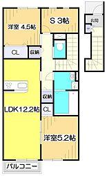 東武東上線 志木駅 バス14分 下宗岡二丁目下車 徒歩1分の賃貸アパート 2階2SLDKの間取り