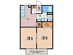 静岡県裾野市御宿の賃貸アパートの間取り