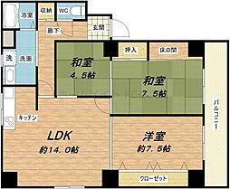 大阪府大阪市中央区船越町2丁目の賃貸マンションの間取り
