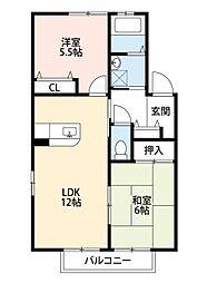 福岡県北九州市小倉南区高野1丁目の賃貸アパートの間取り