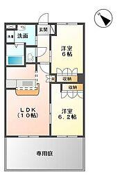 茨城県つくばみらい市紫峰ヶ丘1丁目の賃貸アパートの間取り