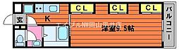 JR山陽本線 西川原駅 徒歩6分の賃貸アパート 2階1Kの間取り