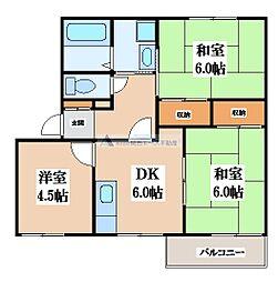大阪府東大阪市日下町7丁目の賃貸アパートの間取り