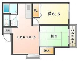 ラヴィヤクモ[1階]の間取り