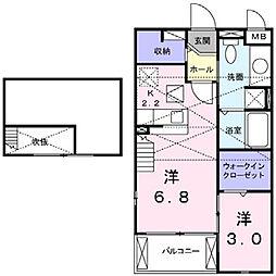 大阪府高槻市北柳川町の賃貸アパートの間取り