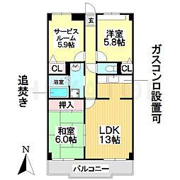 愛知県名古屋市瑞穂区山下通5丁目の賃貸マンションの間取り