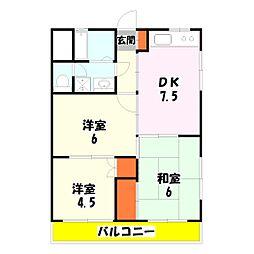 東京都足立区入谷4丁目の賃貸マンションの間取り