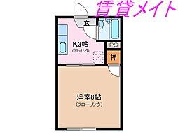 三重県伊勢市下野町の賃貸アパートの間取り