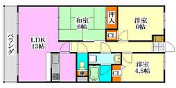 ディアコート津田沼[2階]の間取り