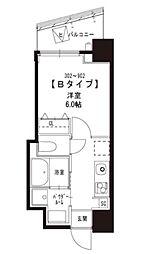 JR山手線 浜松町駅 徒歩8分の賃貸マンション 9階1Kの間取り