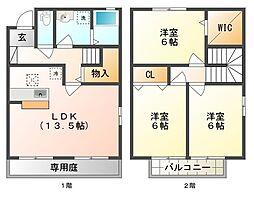 [テラスハウス] 岡山県倉敷市北畝3丁目 の賃貸【/】の間取り