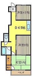 ゴールドコースト南棟[2階]の間取り