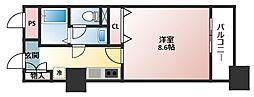 大阪府大阪市中央区馬場町の賃貸マンションの間取り
