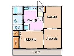 三重県鈴鹿市野辺2丁目の賃貸アパートの間取り