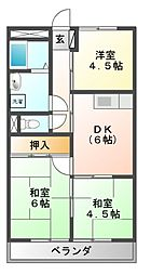 岐阜県関市市平賀の賃貸アパートの間取り