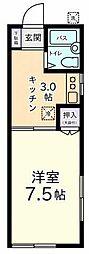東京都調布市深大寺元町4丁目の賃貸アパートの間取り