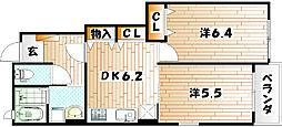 福岡県北九州市小倉南区蒲生2丁目の賃貸アパートの間取り