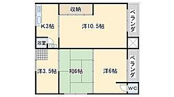 サンワハイツ羽倉崎[2階]の間取り