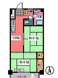 宇田川ビル[601号室]の間取り
