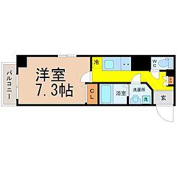 ザ・レジデンス杉栄 8階1Kの間取り