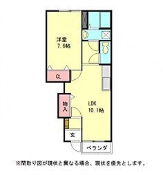 愛知県一宮市三ツ井6丁目の賃貸アパートの間取り