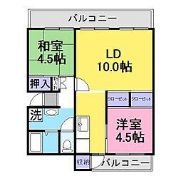 若山台住宅35棟[4階]の間取り
