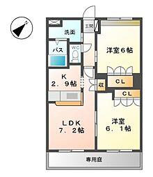 ルミナス・田鶴[1階]の間取り