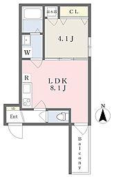 近鉄南大阪線 高見ノ里駅 徒歩3分の賃貸アパート 1階1LDKの間取り