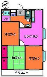 JR京葉線 新浦安駅 徒歩20分の賃貸マンション 2階3LDKの間取り