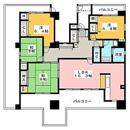 愛知県稲沢市国府宮1丁目の賃貸マンションの間取り