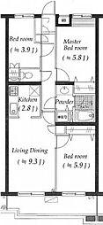 ラナイヒルサイド1188[4階]の間取り