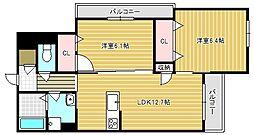 ロイヤルメゾン交野 1階1SLDKの間取り