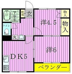 埼玉県三郷市早稲田5の賃貸マンションの間取り