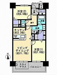 岡山県岡山市北区中山下1丁目の賃貸マンションの間取り