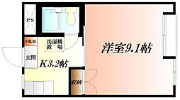 JR高崎線 熊谷駅 徒歩19分の賃貸マンション 2階1Kの間取り
