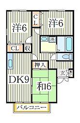 サニーハイツ三番館[2階]の間取り