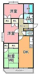 コズミック東赤塚[201号室]の間取り